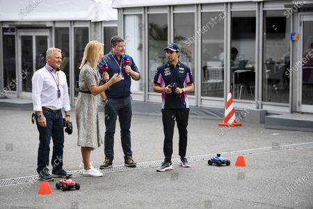 Johnny Herbert, Sky TV, Rachel Brookes, Sky TV, David Croft, Sky TV and Sergio Perez, Racing Point