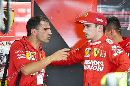 Marc Gene, Ferrari, talks with Charles Leclerc, Ferrari