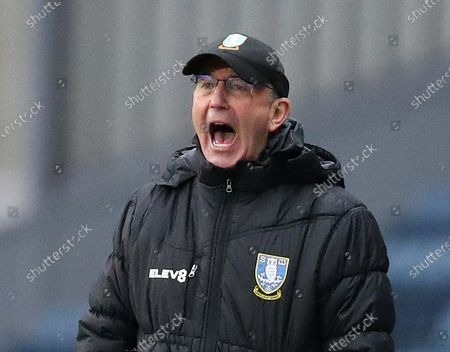 Sheffield Wednesday manager Tony Pulis shouts instructions from the touchline; Ewood Park, Blackburn, Lancashire, England; English Football League Championship Football, Blackburn Rovers versus Sheffield Wednesday.