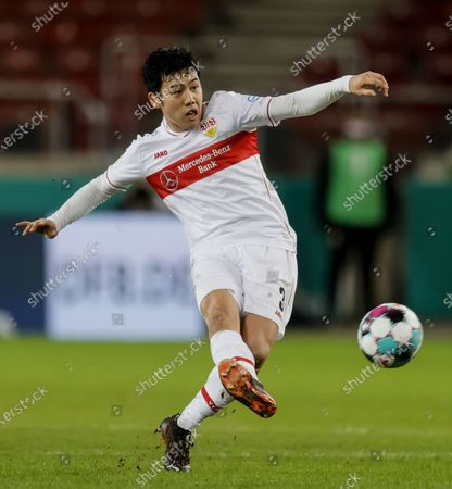 Stuttgart's Wataru Endo in action during the German DFB Cup second round soccer match between VfB Stuttgart and SC Freiburg in Stuttgart, Germany, 23 December 2020.