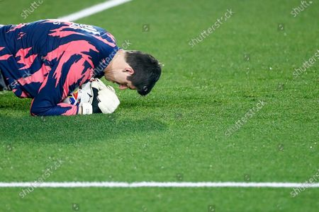 Thibaut Courtois of Real Madrid warms up during the spanish league, La Liga Santander, football match played between Real Madrid and Granada CF at Ciudad Deportiva Real Madrid on december 23, 2020, in Valdebebas, Madrid, Spain
