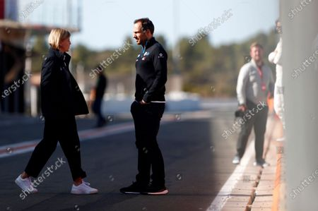 Gary Paffett, Reserve Driver, Mercedes Benz EQ with Susie Wolff, Team Principal, Venturi in the pit lane