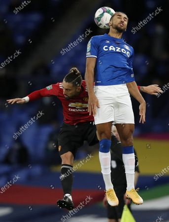 Stock Image of Dominic Calvert-Lewin (R) of Everton in action against Phil Jones (L) of Manchester United during the Carabao Cup quarter final mach between Everton and Manchester United in Liverpool, Britain, 23 December 2020.