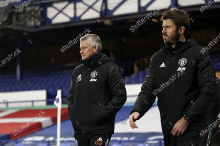 Manchester United's head coach Ole Gunnar Solskjaer (L) and Manchester United's assistant manager Michael Carrick (R) arrive for the Carabao Cup quarter final mach between Everton and Manchester United in Liverpool, Britain, 23 December 2020.