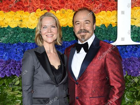 Rebecca Luker, left, and her husband Danny Burstein arrive at the 73rd annual Tony Awards in New York on June 9, 2019. Luker, 59, a three-time Tony nominated actor who starred in some of the biggest Broadway hits of the past three decades, died, said Sarah Fargo, her agent. The actor went public in 2020 saying he had been diagnosed with amyotrophic lateral sclerosis, known as A.L.S. or Lou Gehrig's disease