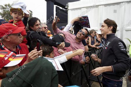 Esteban Gutierrez, Mercedes AMG F1, signs autographs for fans