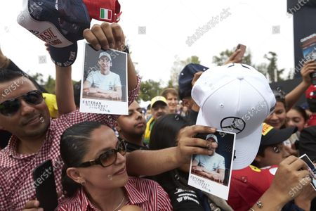 Fans gathered for an autograph from Esteban Gutierrez, Mercedes AMG F1