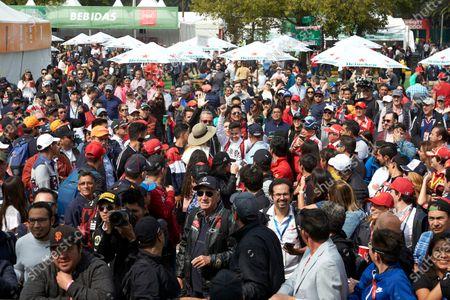 Fans gather to see Esteban Gutierrez, Mercedes AMG F1, on stage