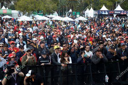 Fans gathered around to see Esteban Gutierrez, Mercedes AMG F1, on stage