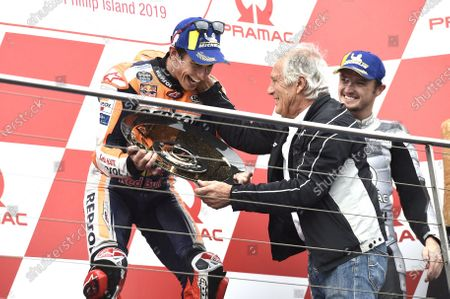 Stock Image of Podium: race winner Marc Marquez, Repsol Honda Team, Giacomo Agostini
