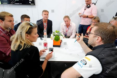 Stock Picture of Mclaren Press briefing with Andreas Seidl, Team Principal, McLaren, Ted Kravitz, Martin Brundle, David Coulthard, Jack Nicholls, Jennie Gow