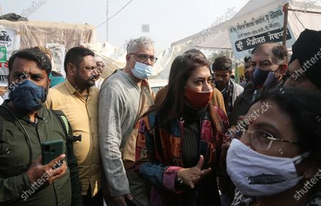 TMC MP Derek O'Brien seen with other party leaders during the ongoing protest over the new farm laws at Singhu (Delhi-Haryana border) on December 23, 2020 near New Delhi, India.