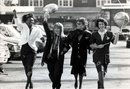Demonstrations 1990 L To R: Television Presenter Floella Benjamin Singer Toyah Willcox Actress Dorothy Tutin Mp Edwina Currie. International Womans Day 'are We Fit For The 90's'.