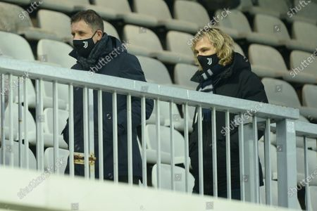 Pavel Nedved and Fabio Paratici during the Lega Pro match between Juventus U23 and A.C. Renate at Stadio Moccagatta on December 23, 2020 in Alessandria, Italy. Sporting stadiums around Italy remain under strict restrictions due to the Coronavirus Pandemic as Government social distancing laws prohibit fans inside venues resulting in games being played behind closed doors