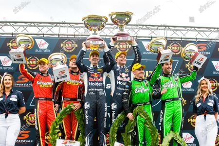 Stock Photo of James Moffat, Chaz Mostert, Tickford Racing Ford, Jamie Whincup, Craig Lowndes,  Triple Eight Race Engineering Holden, Lee Holdsworth, Thomas Randle, Tickford Racing Ford
