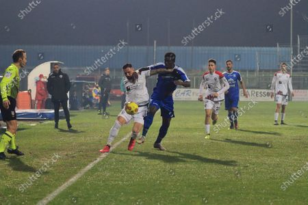 Pagani ,Salerno,Italy: December 23,2020 :Serie C Italian Championship Lega Pro Seventeenth day Paganese Vs Foggia 1 - 4 Game contrast between Filippo D'Andrea (11) Foggia and Abou Diop (11) Paganese