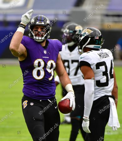 Baltimore Ravens tight end Mark Andrews (89) reacts after a first down pass reception against the Jacksonville Jaguars during the first half at M&T Bank Stadium in Baltimore, Maryland, on Sunday, December 20, 2020.