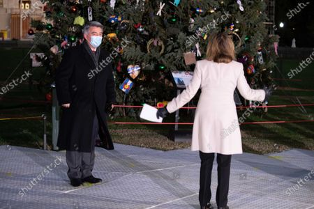 Sen. Cory Gardner, D-CO, greets Speaker of the House Nancy Pelosi, D-Calif., at the 2020 U.S. Capitol Christmas Tree lighting ceremony on the grounds of the U.S. Capitol in Washington, DC on Wednesday, December 2, 2020. The Capitol Christmas Tree is an Engelmann spruce from the Grand Mesa, Uncompahgre and Gunnison (GMUG) National Forests in Colorado.