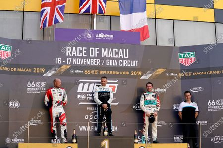 Stock Photo of Podium: Race winner Andy Priaulx, Cyan Performance Lynk & Co 03 TCR, second place Rob Huff, SLR VW Motorsport Volkswagen Golf GTI TCR, third place Jean-Karl Vernay, Leopard Racing Team Audi Sport Audi RS 3 LMS.