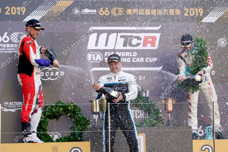 Stock Picture of Podium: Race winner Andy Priaulx, Cyan Performance Lynk & Co 03 TCR, second place Rob Huff, SLR VW Motorsport Volkswagen Golf GTI TCR, third place Jean-Karl Vernay, Leopard Racing Team Audi Sport Audi RS 3 LMS.