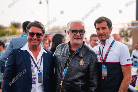 Flavio Briatore and Mark Webber on the grid.