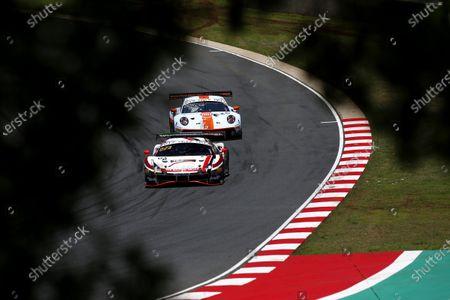 #22 Rinaldi Racing Ferrari 488 GT3: Leonard Weiss, Jochen Krumbach, David Perel, #20 GPX Racing Porsche 911 GT3 R: Richard Lietz, Michael Christensen, Kevin Estre.