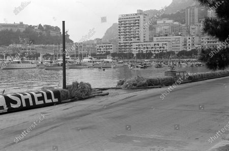 The exit of the harbour-front chicane, with missing straw bales after an earlier incident. Skid marks are visible.