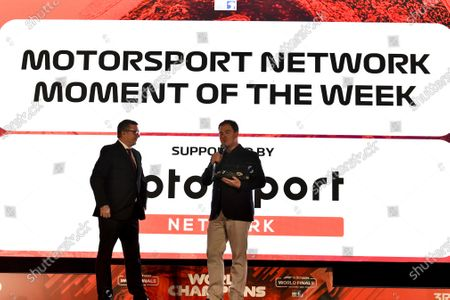David Croft and James Allen of Motorsport Network on stage at the F1 in schools presentation