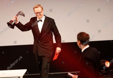 Stock Picture of Ari Vatanen presents the Rally Driver of the Year Award