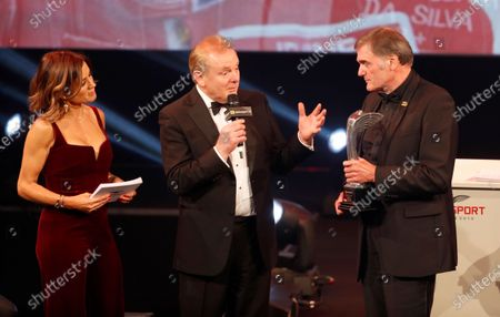 Stock Picture of Dick Bennetts receives the Gregor Grant Award from Jonathan Palmer