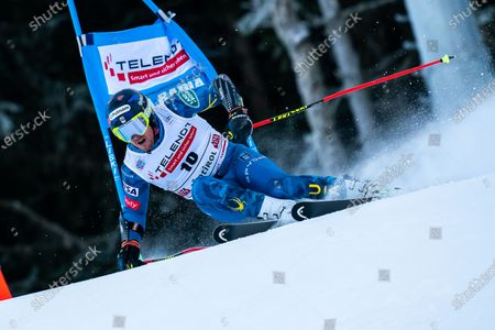 Ted Ligety of USA competing in the Audi Fis Alpine Skiing World Cup Men's Giant Slalom on the Gran Risa Course in the dolomite mountain range.