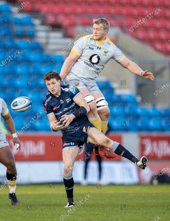 Sam James of Sale Sharks drops the ball; AJ Bell Stadium, Salford, Lancashire, England; English Premiership Rugby, Sale Sharks versus Wasps.