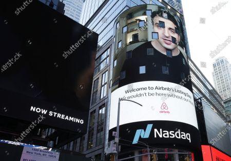 Editorial image of Airbnb IPO at the Nasdaq, New York, USA - 10 Dec 2020