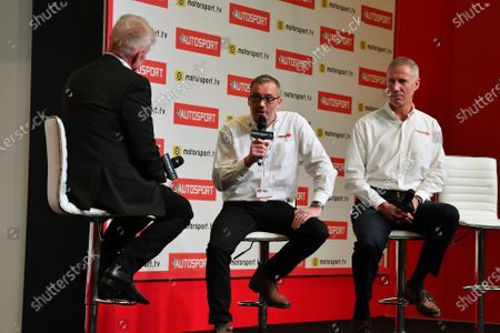 Ian Warhurst and Andy Green are interviewed on the stage