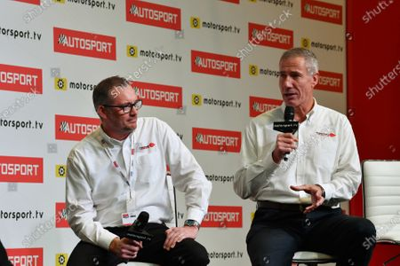 Stock Image of Ian Warhurst and Andy Green are interviewed on the stage
