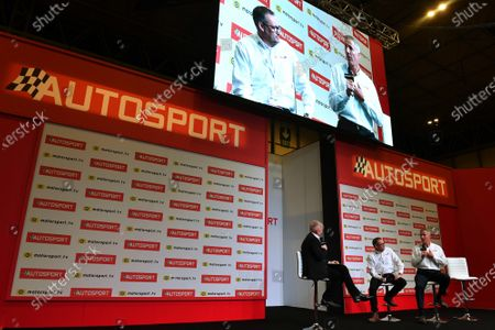 Stock Photo of Ian Warhurst and Andy Green are interviewed on the Autosport stage