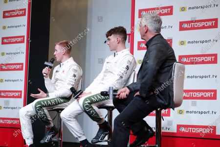 Stock Picture of Derek Warwick on stage with 2019 Aston Martin Autosport BRDC Young Driver Award nominees Jonathan Hoggard and Ayrton Simmons