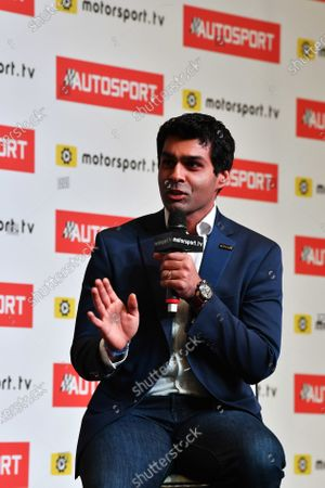 Karun Chandhok is interviewed on the Autosport stage