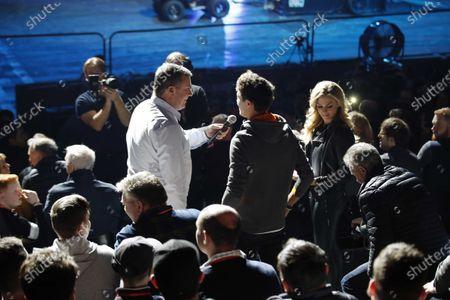 Stock Photo of David Croft, Sky TV interviews Lando Norris, McLaren in the Live Action tion Arena