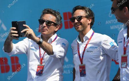Alejandro Agag, Chairman of Formula E with Jamie Reigle, Formula E CEO on the podium