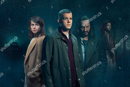 Amrita Acharia as Holly, Russell Tovey, as Nathan, Bertie Carvel as Bob, and Nina Toussaint-White as Jacki