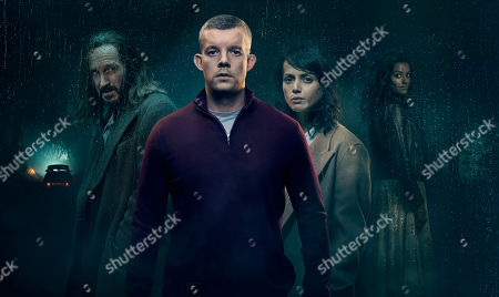 Stock Picture of Bertie Carvel as Bob, Russell Tovey, as Nathan, Amrita Acharia as Holly, and Nina Toussaint-White as Jacki