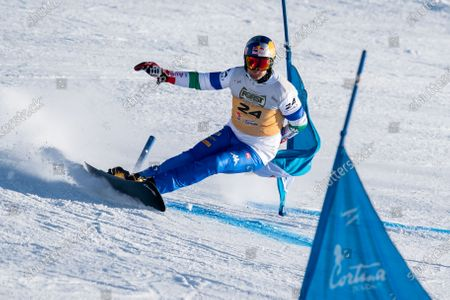 Roland Fischnaller of Italy competing in the FIS Snowboard World Cup 2021 Men's Parallel Giant Slalom of Germany competing in the Fis Snowboard World Cup 2021 Men's Parallel Giant Slalom