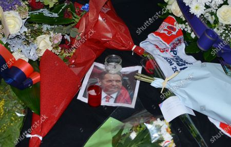 candles and flowers at the entrance to the lyon stadium in tribute to gerard houllier, former lyon coach before the French league 1  match between Olympique Lyonnais OL  and FC Nantes at Groupama stadium