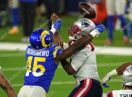 New England Patriots quarterback Cam Newton loses the ball against Los Angeles Rams in second quarter action at SoFi Stadium in Inglewood, California on Thursday, December 10, 2020.