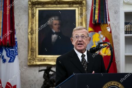Former college football coach Lou Holtz delivers remarks before President Trump presented him with a Medal of Freedom, in the Oval Office at the White House in Washington, DC on Thursday, December 3, 2020. Holtz, the hall of fame college football coach, had a 34 year coaching career that included winning the 1988 national championship with the University of Notre Dame. Holtz coached six different programs to bowl games and four different teams to top 20 final rankings.