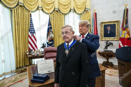 Editorial photo of President Trump presents the Medal of Freedom to Lou Holtz at the White House, Washington, DC, USA - 03 Dec 2020