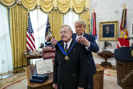 Editorial picture of President Trump presents the Medal of Freedom to Lou Holtz at the White House, Washington, DC, USA - 03 Dec 2020