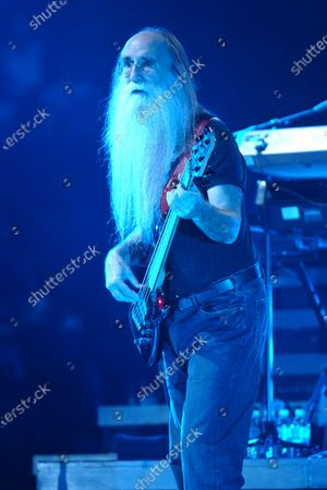 Leland Sklar performs with Phil Collins during the Finally The First Farewell Tour