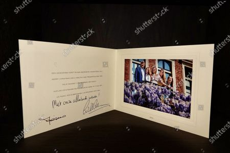 Christmascard of King Willem-Alexander, Queen Maxima, Princess Amalia, Alexia and Ariane.